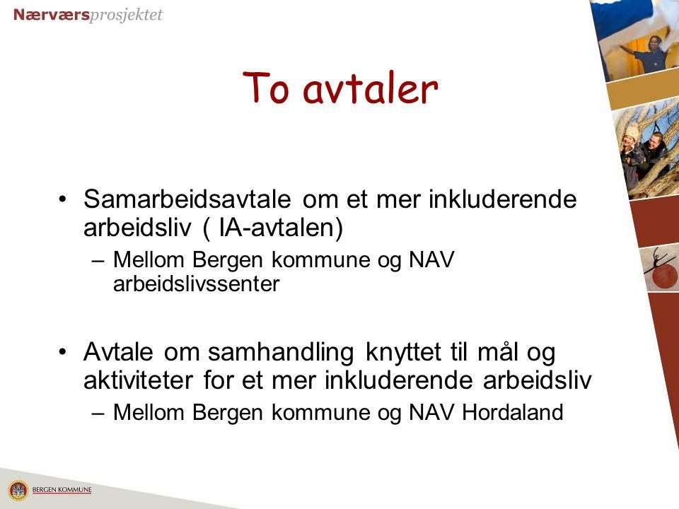 To avtaler Samarbeidsavtale om et mer inkluderende arbeidsliv ( IA-avtalen) Mellom Bergen kommune og NAV arbeidslivssenter.