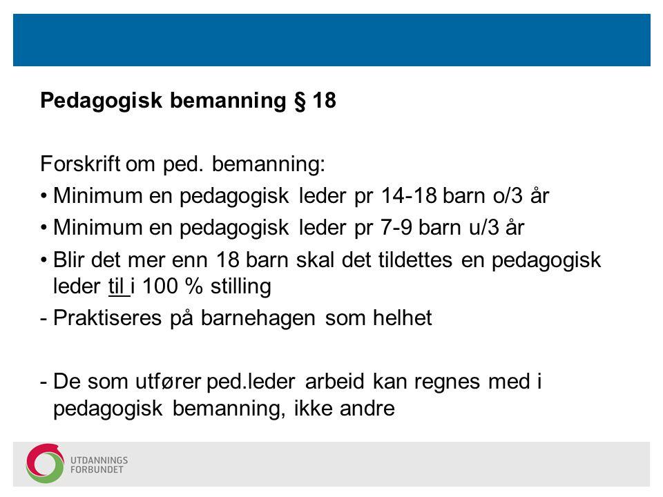Pedagogisk bemanning § 18