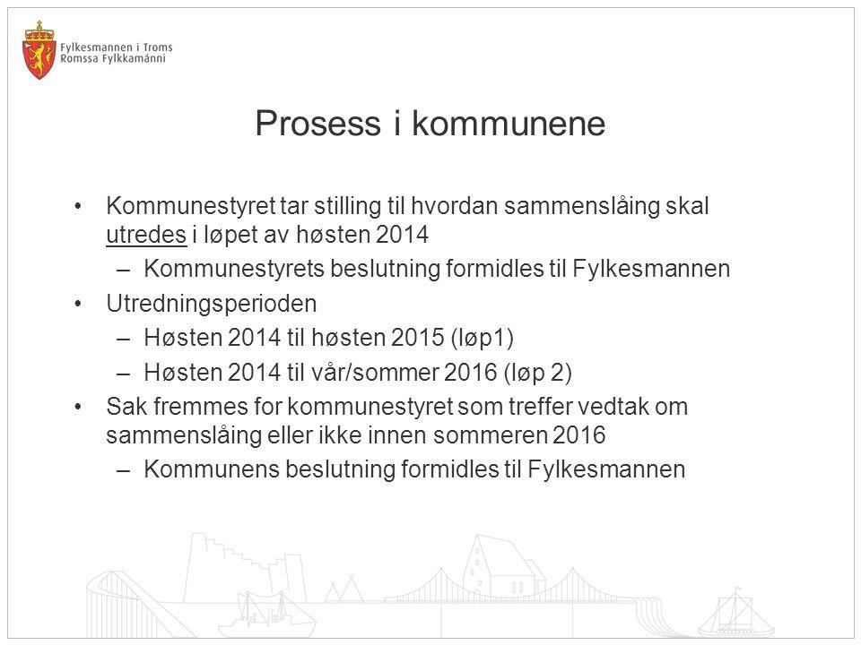 Prosess i kommunene Kommunestyret tar stilling til hvordan sammenslåing skal utredes i løpet av høsten 2014.