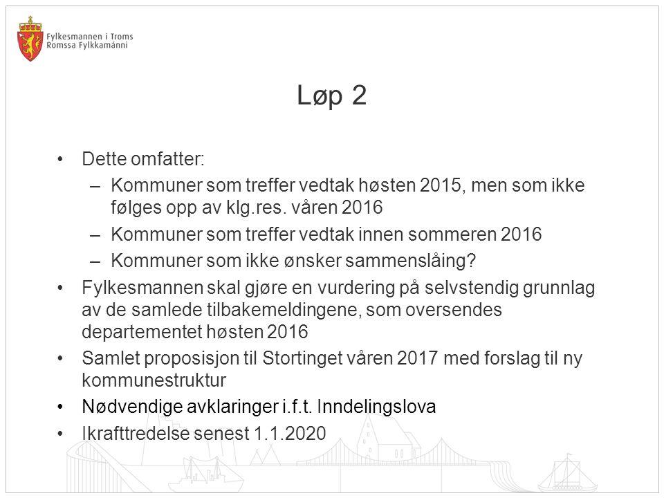 Løp 2 Dette omfatter: Kommuner som treffer vedtak høsten 2015, men som ikke følges opp av klg.res. våren 2016.