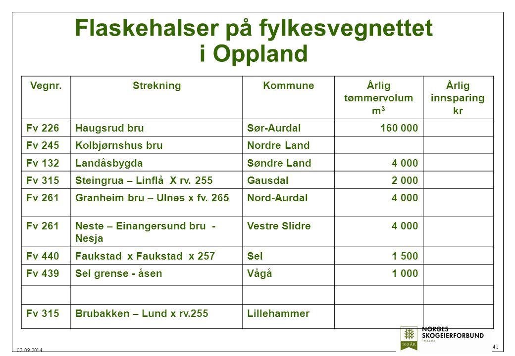 Flaskehalser på fylkesvegnettet i Oppland