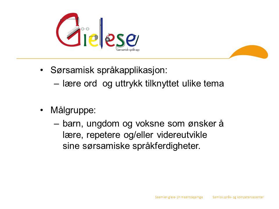 Sørsamisk språkapplikasjon: lære ord og uttrykk tilknyttet ulike tema