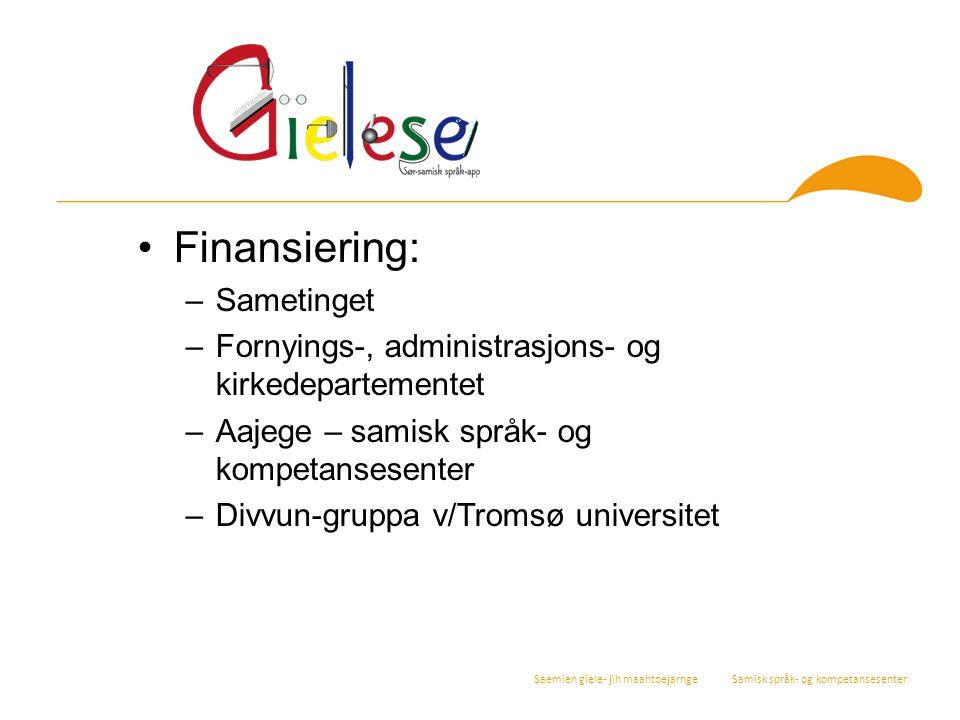 Finansiering: Sametinget