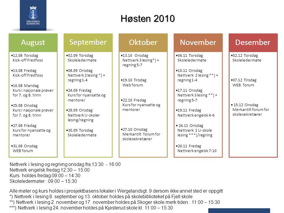 Høsten 2010 August Oktober November Desember September