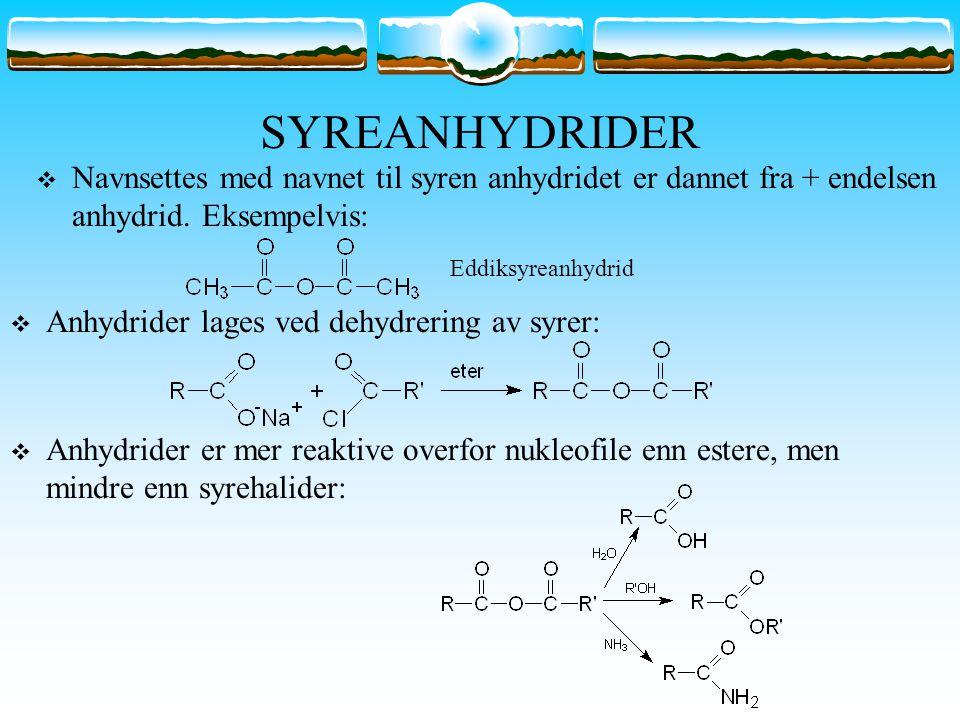 SYREANHYDRIDER Navnsettes med navnet til syren anhydridet er dannet fra + endelsen anhydrid. Eksempelvis: