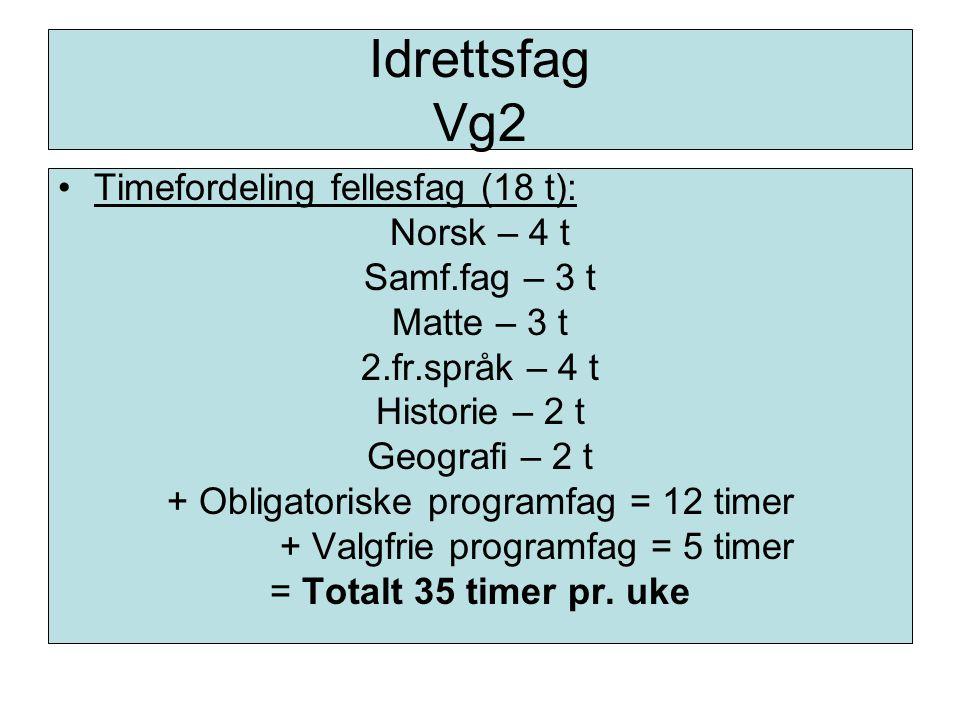 Idrettsfag Vg2 Timefordeling fellesfag (18 t): Norsk – 4 t