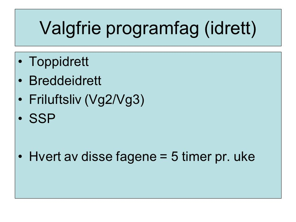 Valgfrie programfag (idrett)