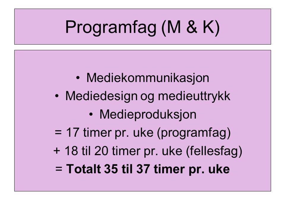 Programfag (M & K) Mediekommunikasjon Mediedesign og medieuttrykk