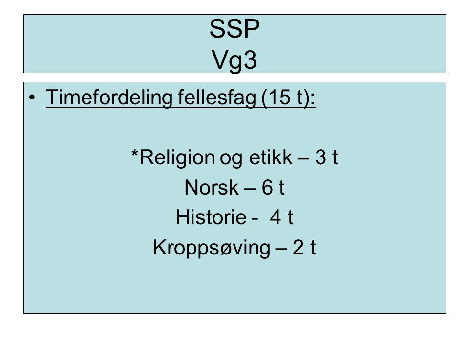 SSP Vg3 Timefordeling fellesfag (15 t): *Religion og etikk – 3 t