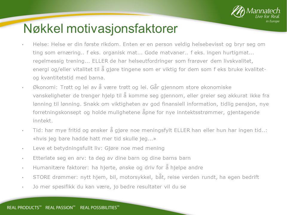 Nøkkel motivasjonsfaktorer