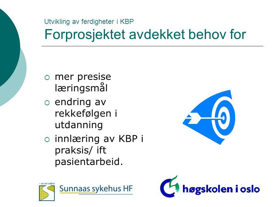 Utvikling av ferdigheter i KBP Forprosjektet avdekket behov for