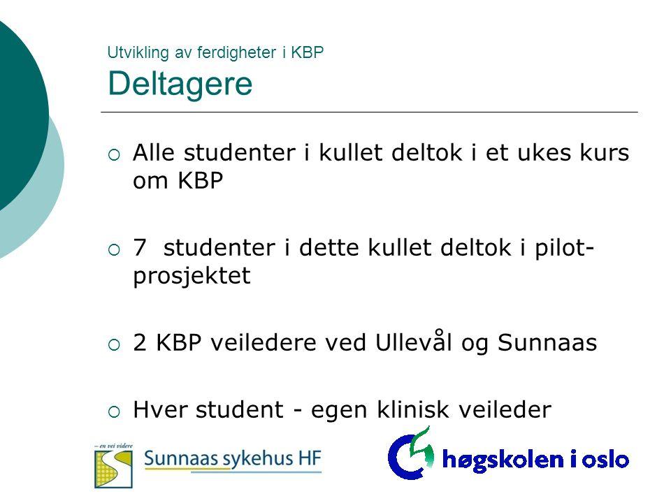 Utvikling av ferdigheter i KBP Deltagere