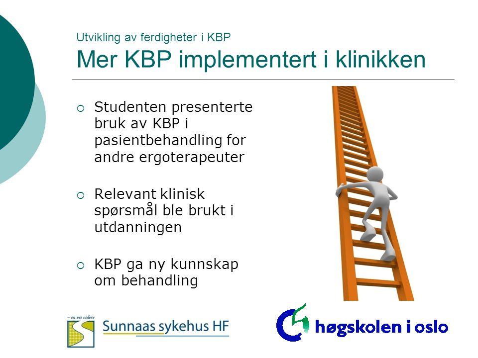 Utvikling av ferdigheter i KBP Mer KBP implementert i klinikken