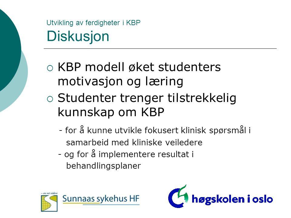 Utvikling av ferdigheter i KBP Diskusjon