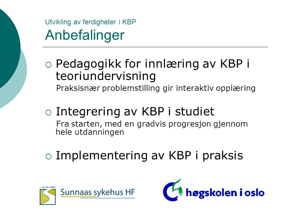 Utvikling av ferdigheter i KBP Anbefalinger