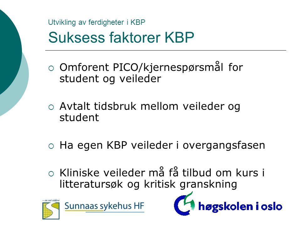 Utvikling av ferdigheter i KBP Suksess faktorer KBP