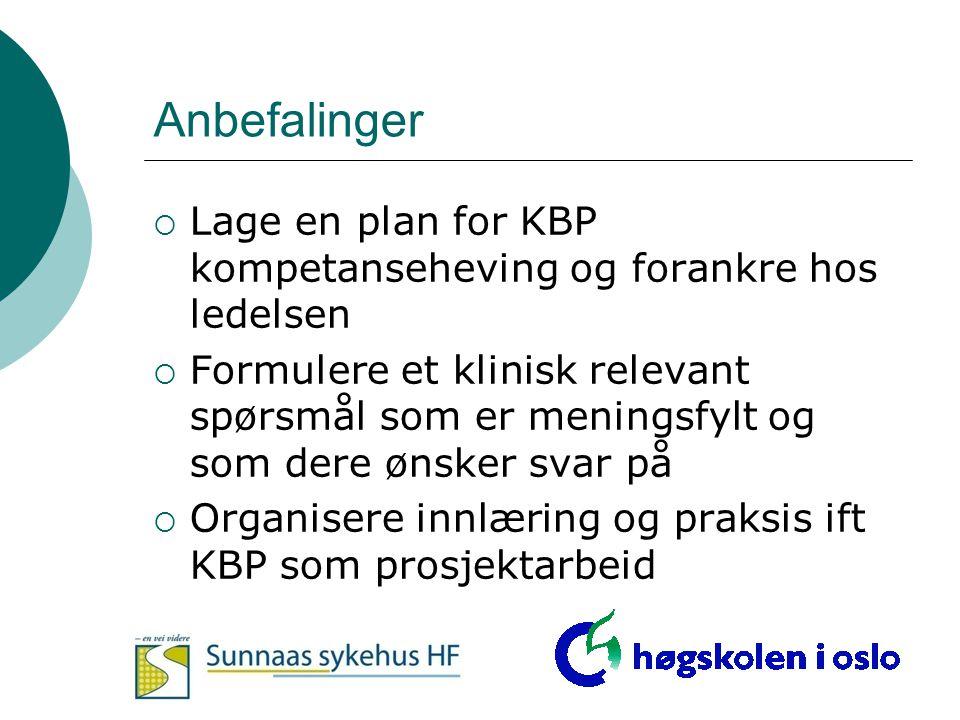 Anbefalinger Lage en plan for KBP kompetanseheving og forankre hos ledelsen.