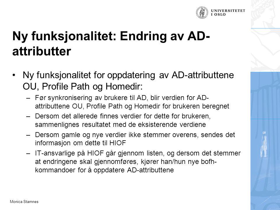 Ny funksjonalitet: Endring av AD-attributter