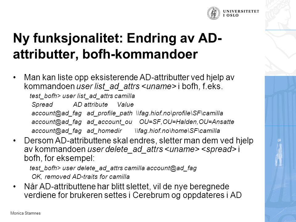 Ny funksjonalitet: Endring av AD-attributter, bofh-kommandoer