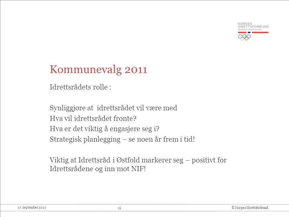 Kommunevalg 2011 Idrettsrådets rolle :