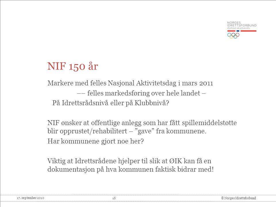 NIF 150 år Markere med felles Nasjonal Aktivitetsdag i mars 2011