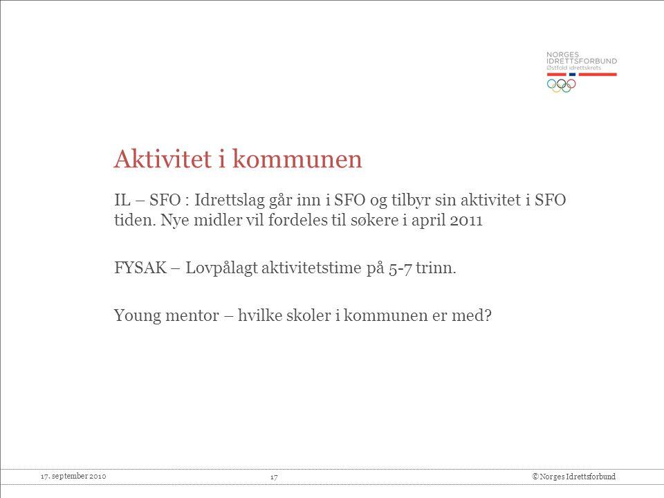 Aktivitet i kommunen IL – SFO : Idrettslag går inn i SFO og tilbyr sin aktivitet i SFO tiden. Nye midler vil fordeles til søkere i april 2011.