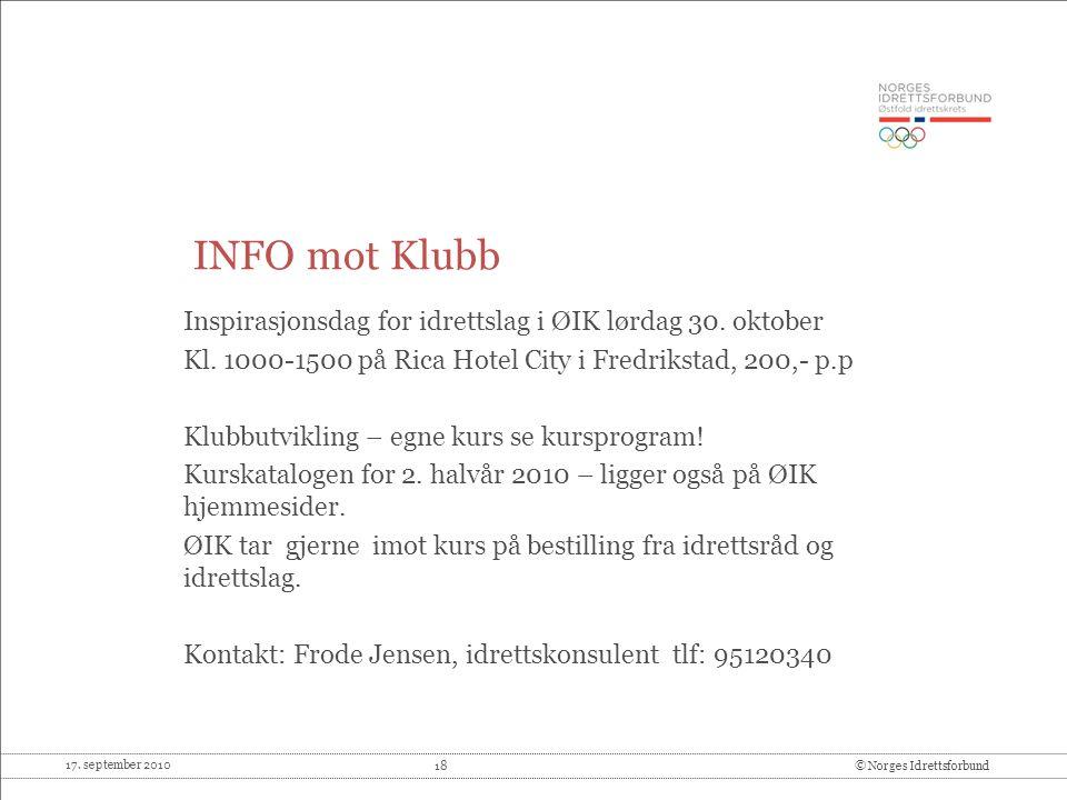 INFO mot Klubb Inspirasjonsdag for idrettslag i ØIK lørdag 30. oktober