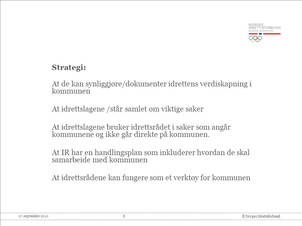 Strategi: At de kan synliggjøre/dokumenter idrettens verdiskapning i kommunen. At idrettslagene /står samlet om viktige saker.