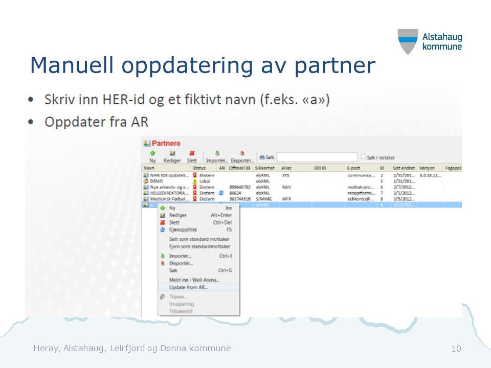 Manuell oppdatering av partner