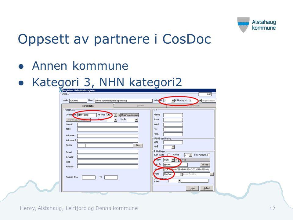 Oppsett av partnere i CosDoc