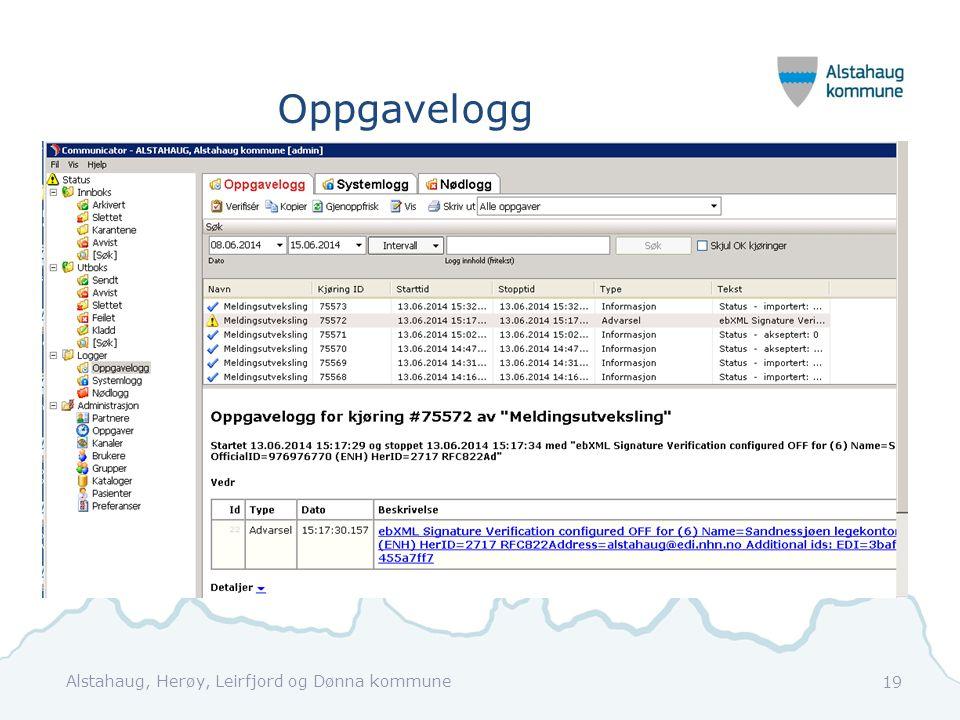 Oppgavelogg Alstahaug, Herøy, Leirfjord og Dønna kommune
