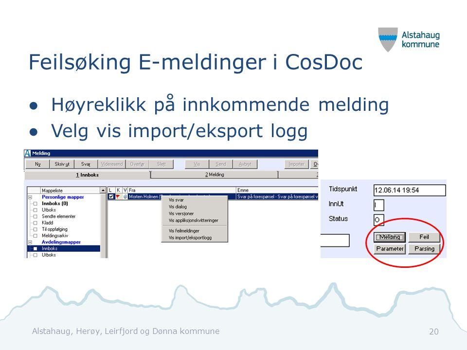 Feilsøking E-meldinger i CosDoc