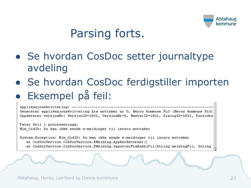 Parsing forts. Se hvordan CosDoc setter journaltype avdeling
