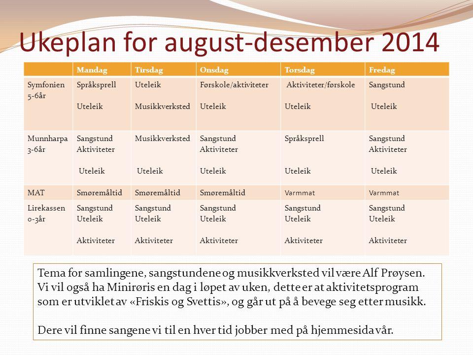 Ukeplan for august-desember 2014