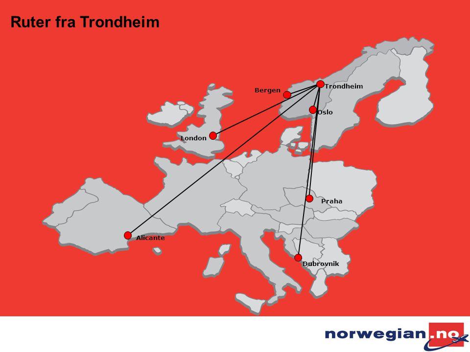 Ruter fra Trondheim Trondheim Bergen Oslo London Praha Alicante
