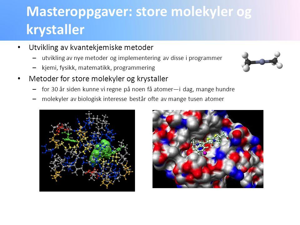 Masteroppgaver: store molekyler og krystaller