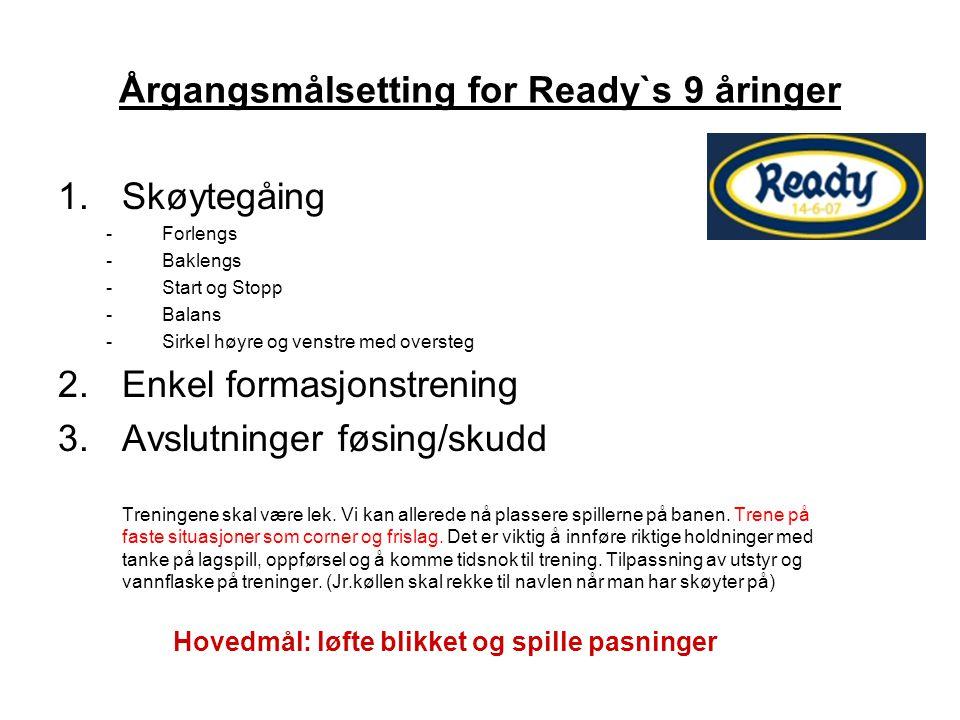 Årgangsmålsetting for Ready`s 9 åringer