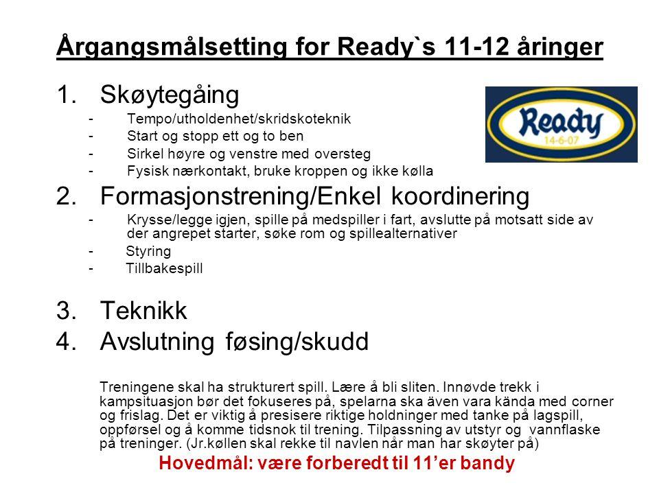 Årgangsmålsetting for Ready`s 11-12 åringer