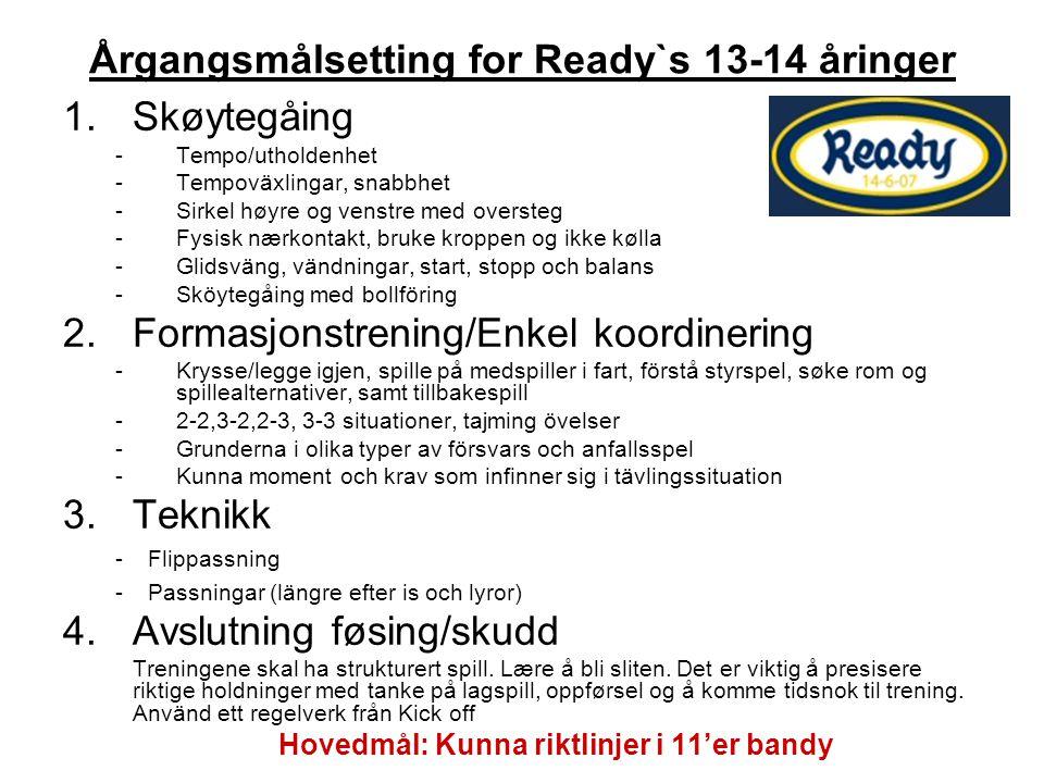 Årgangsmålsetting for Ready`s 13-14 åringer