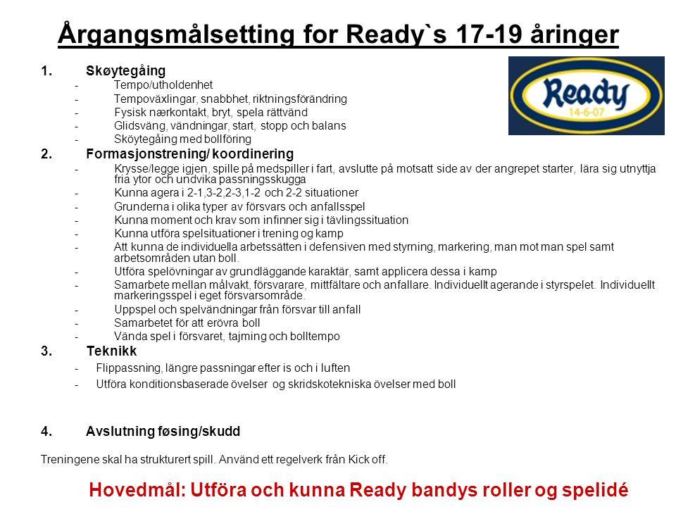 Årgangsmålsetting for Ready`s 17-19 åringer