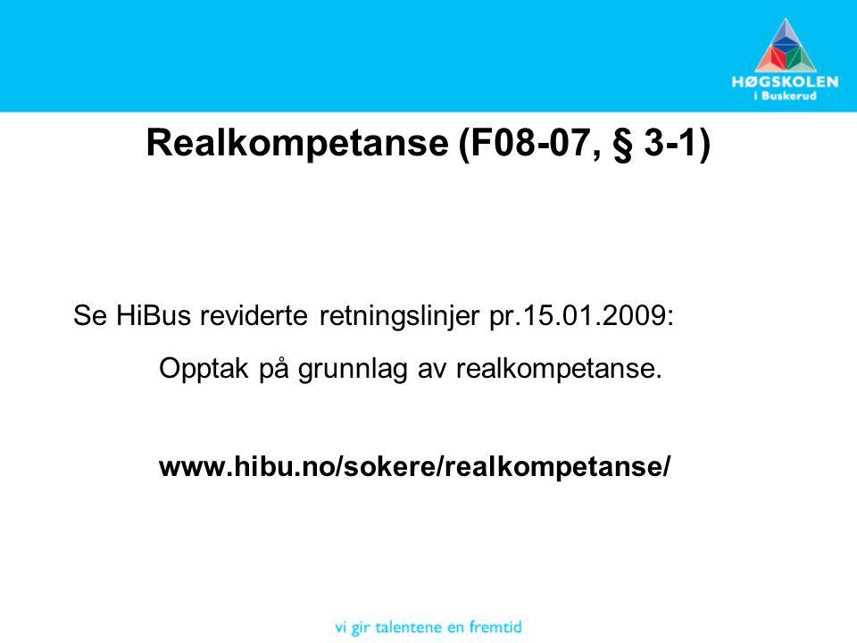 Realkompetanse (F08-07, § 3-1)