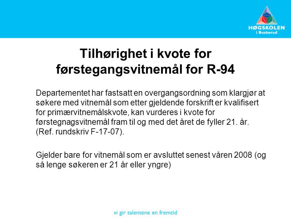 Tilhørighet i kvote for førstegangsvitnemål for R-94
