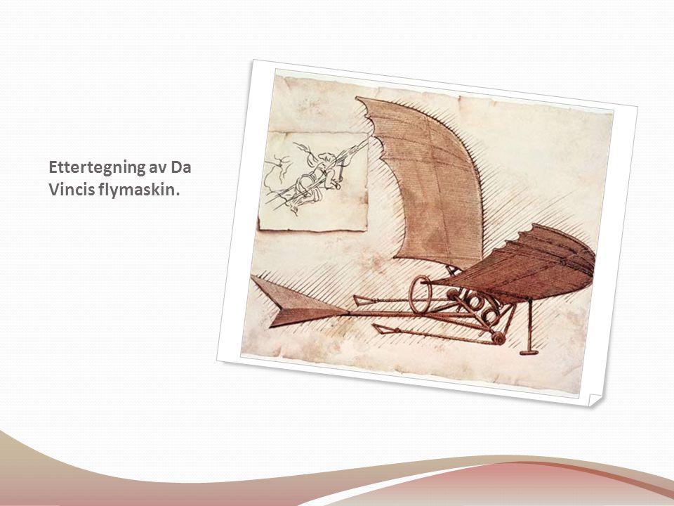 Ettertegning av Da Vincis flymaskin.