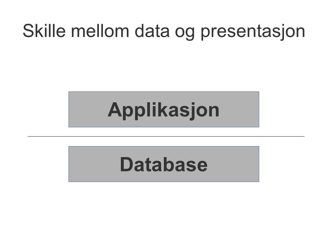 Skille mellom data og presentasjon