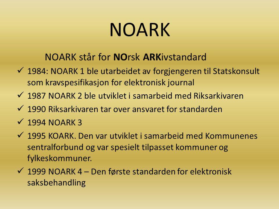 NOARK NOARK står for NOrsk ARKivstandard