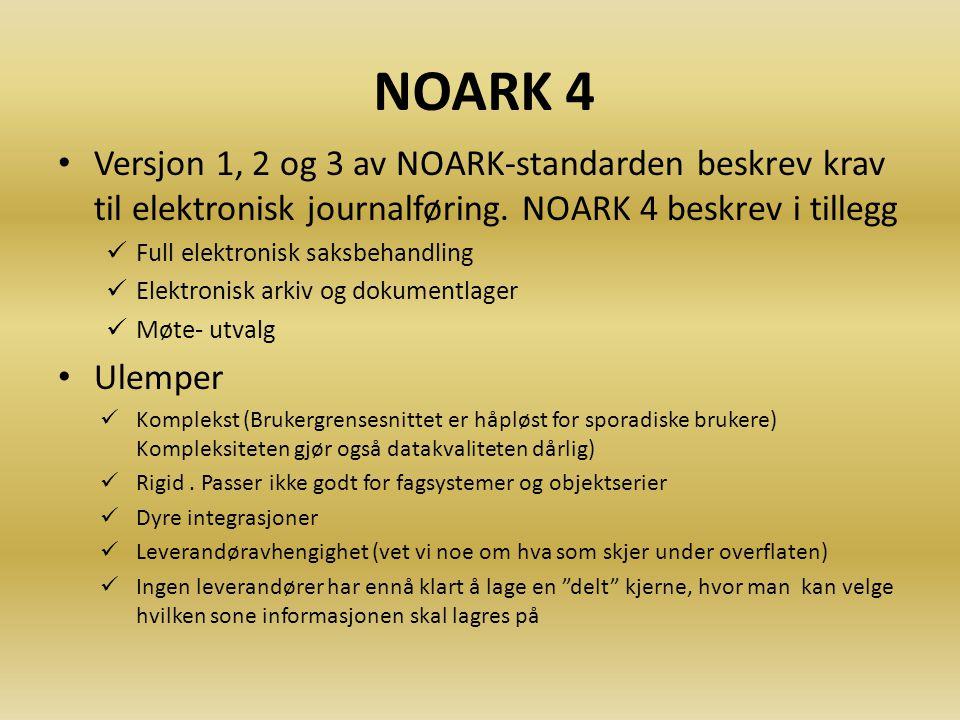 NOARK 4 Versjon 1, 2 og 3 av NOARK-standarden beskrev krav til elektronisk journalføring. NOARK 4 beskrev i tillegg.