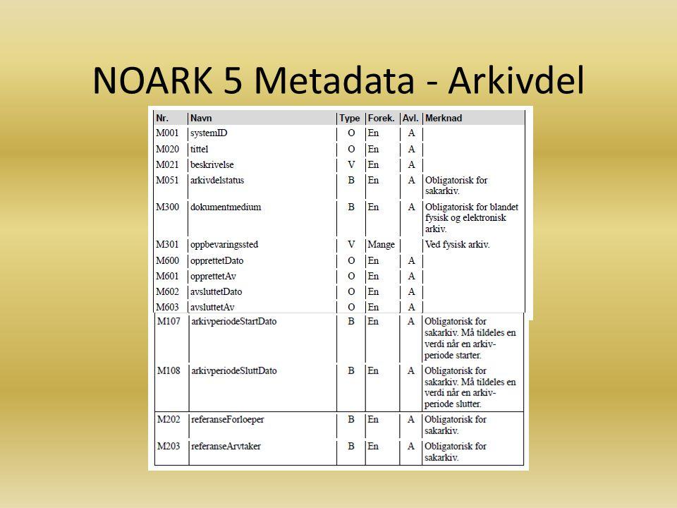 NOARK 5 Metadata - Arkivdel