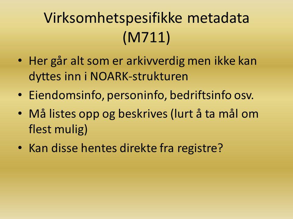 Virksomhetspesifikke metadata (M711)