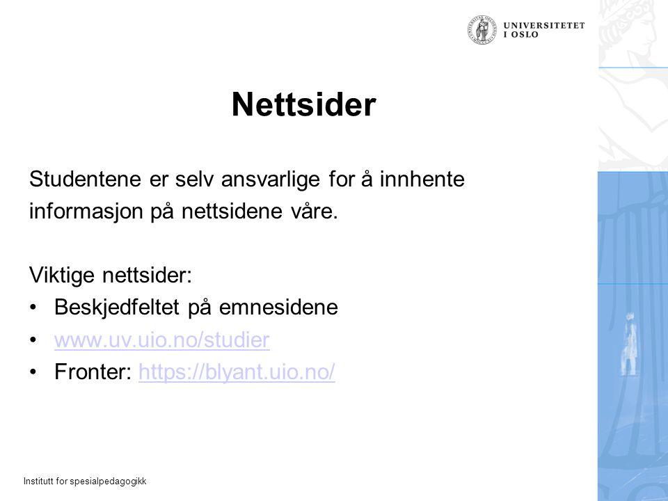 Nettsider Studentene er selv ansvarlige for å innhente