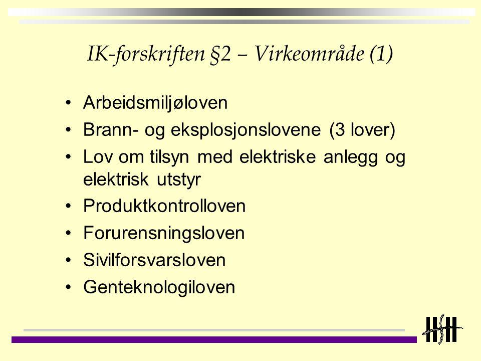 IK-forskriften §2 – Virkeområde (1)